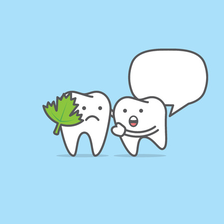 Tooth character with vegetable stuck illustration vector on blue background. Dental concept.