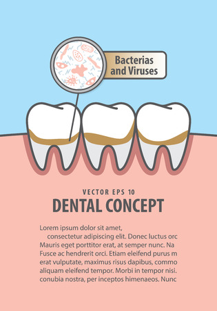 Layout Bacterias and viruses with dirty teeth illustration vector on blue background. Dental concept.