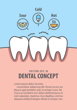 illustration vectorielle de la brochure bien-être sur fond bleu. concept dentaire
