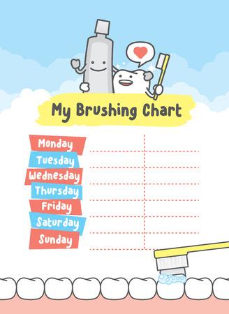 My brushing chart illustration vector on blue background. Vettoriali