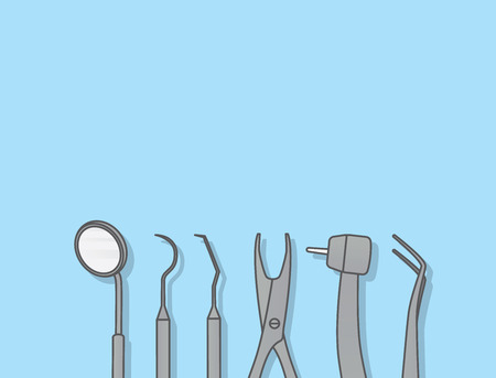 Dental tools illustration vector on blue background. Illustration
