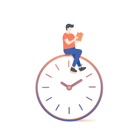 the man reading on clock illustration vector on white background.