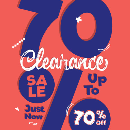 Vol. 4 Clearance Sale purple orange 70 percent heading design for banner or poster. Sale and Discounts Concept. Vector illustration.