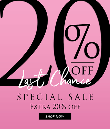 Special Sale 20 percent heading design on pink background for banner or poster. Sale and Discounts Concept. Vector illustration. Vectores