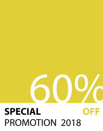 Special Promotion 60 percent pantone style vector (yellow color) for banner or poster. Sale and Discounts Concept.