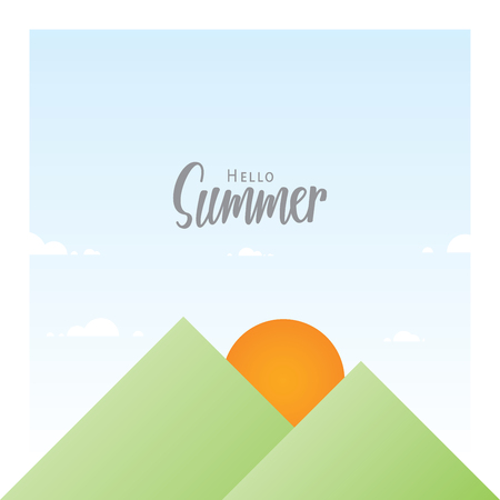 Sun and mountain geometry nature with summer headline design illustration vector