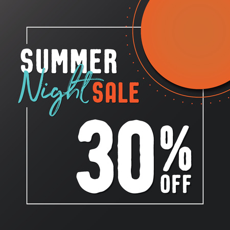 Summer Night Sale 30 percent off vector heading design for banner or poster. Sale and Discounts Concept.