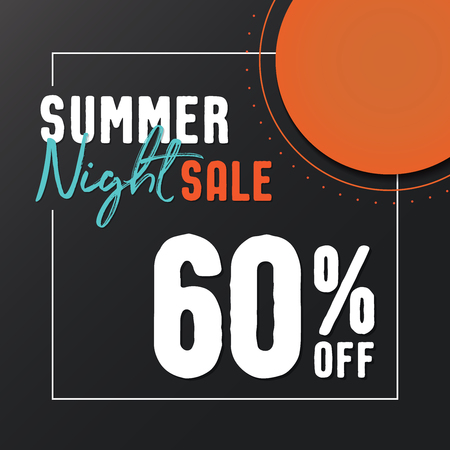 Summer Night Sale 60 percent off vector heading design  for banner or poster. Sale and Discounts Concept.
