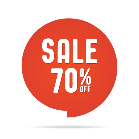 Vol.5 Sale sign set red 70 percent heading design for banner or poster. Sale and Discounts Concept. Vector illustration.