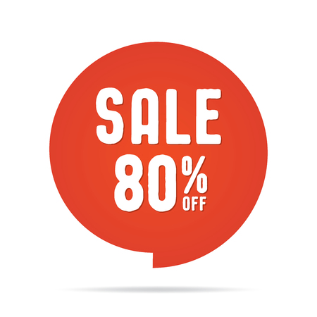 Vol.5 Sale sign set red 80 percent heading design for banner or poster. Sale and Discounts Concept. Vector illustration.
