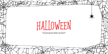 Halloween horizontal frame black cobweb and spider on white background ilustration vector. Halloween concept. Ilustrace
