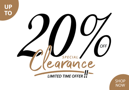 Vol. 5.3 Clearance Sale 20 percent heading design for banner or poster. Sale and Discounts Concept.