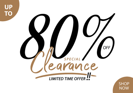 Vol. 5.3 Clearance Sale 80 percent heading design for banner or poster. Sale and Discounts Concept.