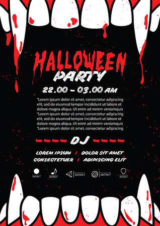 Halloween party A4 poster with dracula fang on black background ilustration vector. Halloween concept.
