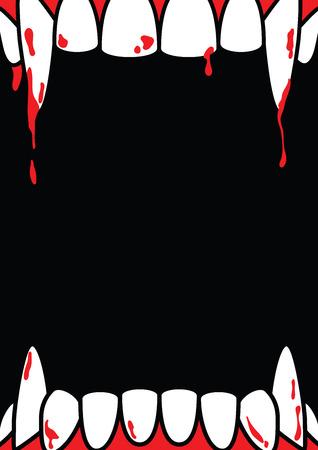 Affiche vierge de cadre Halloween A4 avec croc de dracula sur fond noir ilustration vecteur. Notion d'Halloween.