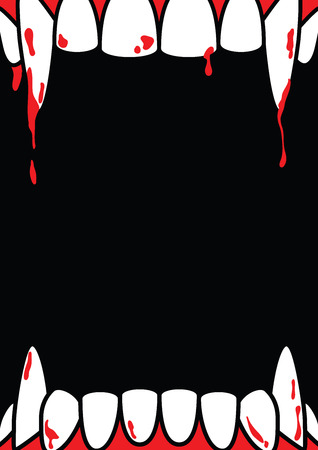 Cartel en blanco de marco de Halloween A4 con colmillo de Drácula en vector de ilustración de fondo negro. Concepto de Halloween.