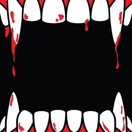 Halloween square frame blank banner with dracula fang on black background ilustration vector. Halloween concept. Illustration