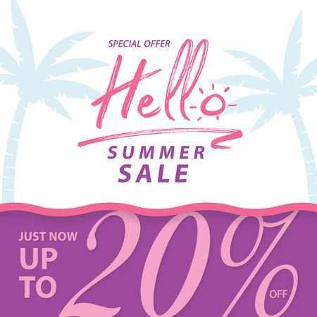 Summer Sale V9 20 percent banner vector heading design for banner or poster. Sale and Discounts Concept. Stock Vector - 109983560