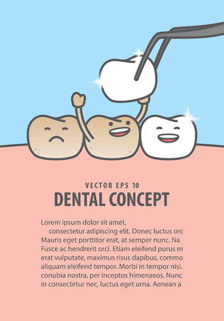 Layout Teeth character very happy for putting new veneer on discolored tooth illustration vector on blue background. Dental concept.