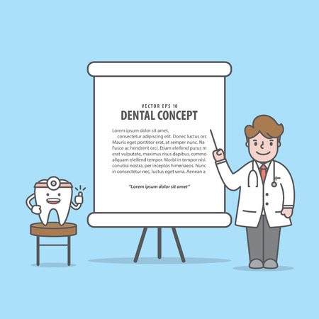 Lecture with Tooth & Doctor characters illustration vector on blue background. Dental concept.