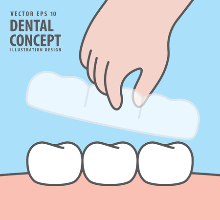 Square banner Hand holding essix retainer for put on or take off with teeth illustration vector on blue background. Dental concept.