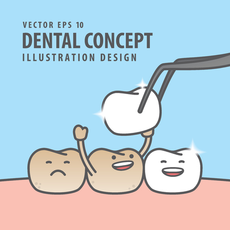 Square banner Teeth character very happy for putting new veneer on discolored tooth illustration vector on blue background. Dental concept.