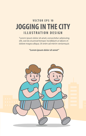 Fat couple character happy running for weight loss in city background before and after illustration vector