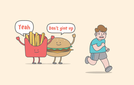 Running for weight loss (junk food & fat man character) illustration vector on yellow background. Exercise concept. Stockfoto - 127209537