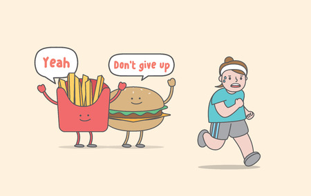 Running for weight loss (junk food & fat woman character) illustration vector on yellow background. Exercise concept.