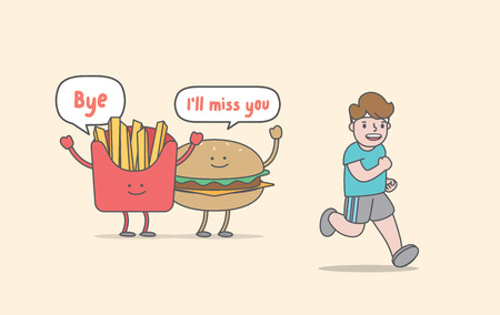 Running for weight loss (junk food & man character) illustration vector on yellow background. Exercise concept.