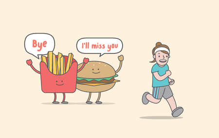 Running for weight loss (junk food & woman character) illustration vector on yellow background. Exercise concept. Ilustração