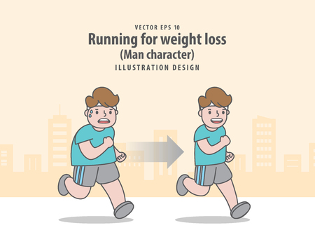 Compare man character running for weight loss in city background before and after illustration vector