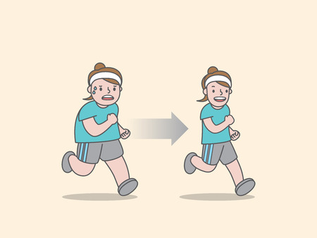 Compare woman character running for weight loss before and after illustration vector on yellow background. Exercise concept.