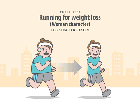 Compare woman character running for weight loss in city background before and after illustration vector