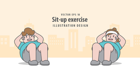 Sit-up exercise in city background illustration vector on yellow background. Exercise concept. Illustration