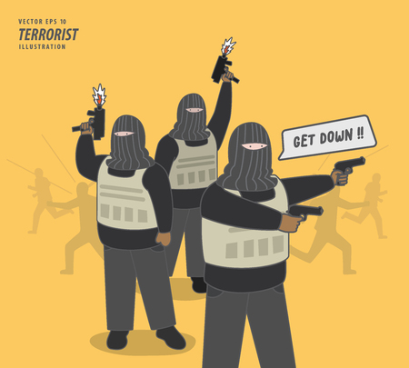 the terrorist gang illustration vector. Criminal concept. Çizim