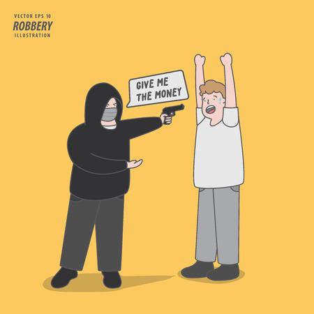 the thief rob a man with handgun illustration vector. Criminal concept.