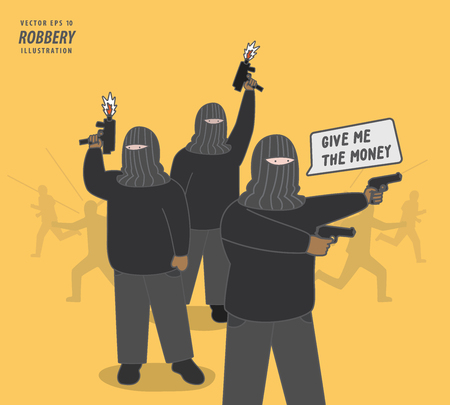 the thief gang robbery illustration vector. Criminal concept.