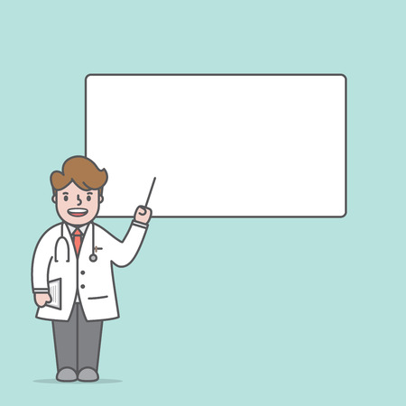 Doctor character & text box lecture illustration vector on green background. Medical concept.