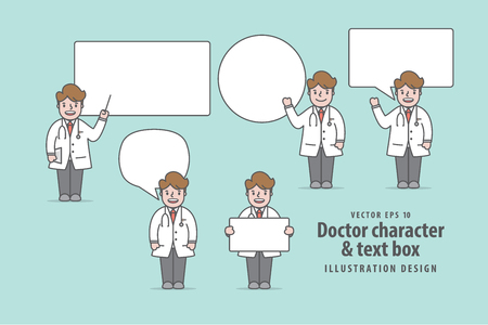 Doctor character & text box illustration vector on green background. Medical concept. Illustration
