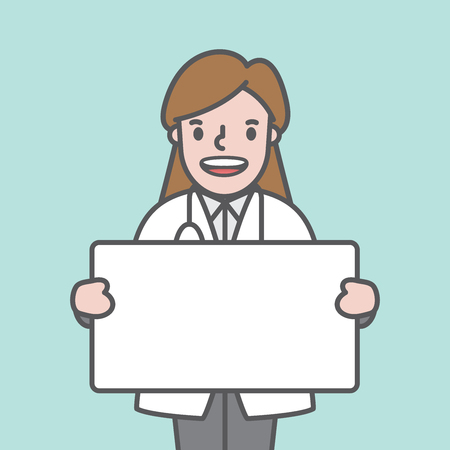 Doctor character (woman) & text box board illustration vector on green background. Medical concept.