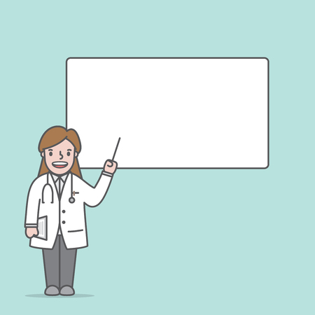 Doctor character (woman) & text box lecture illustration vector on green background. Medical concept. Ilustração