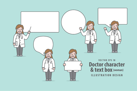 Doctor character (woman) & text box illustration vector on green background. Medical concept.