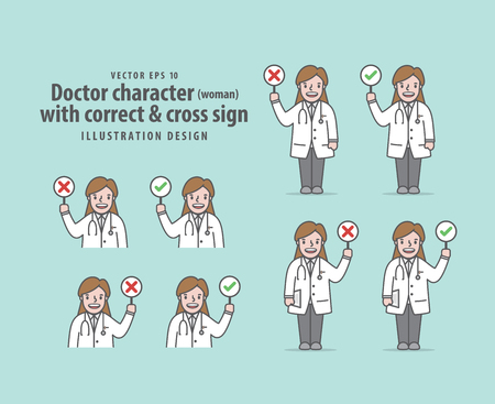 Doctor character (woman) with correct & cross sign illustration vector on green background. Medical concept.