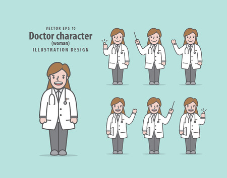 Doctor character (woman) illustration vector on green background. Medical concept.  イラスト・ベクター素材