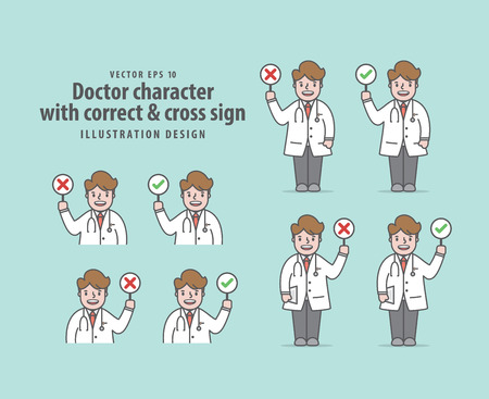 Doctor character with correct & cross sign illustration vector on green background. Medical concept.