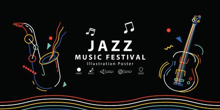 Jazz music festival banner poster illustration vector. Music concept. Иллюстрация