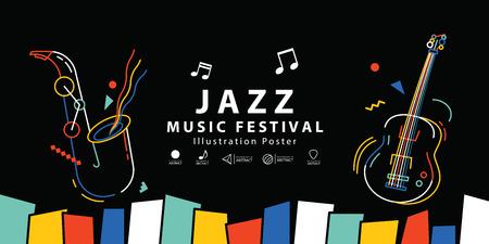 Vettore dell'illustrazione del manifesto dell'insegna del festival di musica jazz. Concetto di musica. Vettoriali