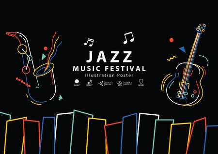 Jazz music festival banner poster A4 illustration vector. Music concept. Ilustração