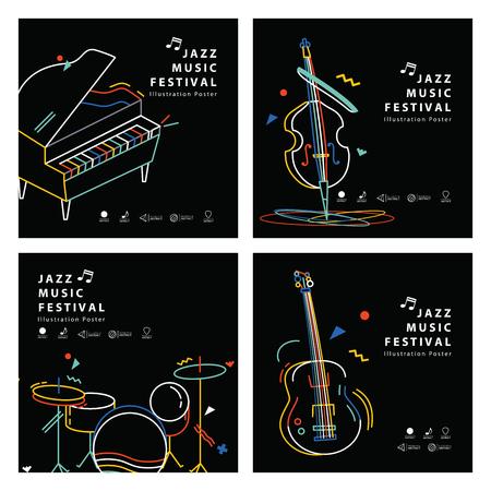 Jazz music banner poster square 4 musical instrument illustration vector. Music concept. Ilustração